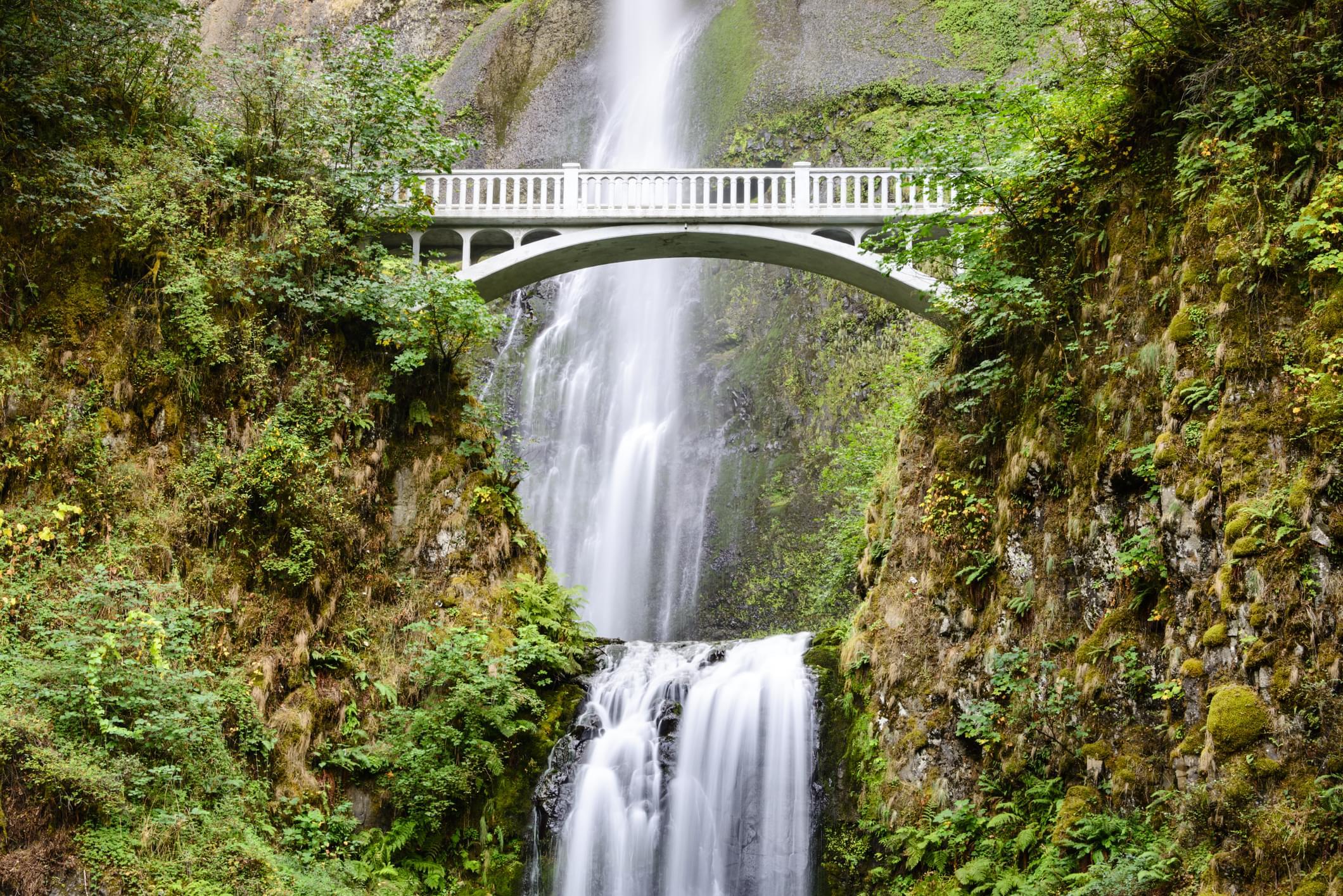 Les chutes Multnomah vues de la route du fleuve Columbia
