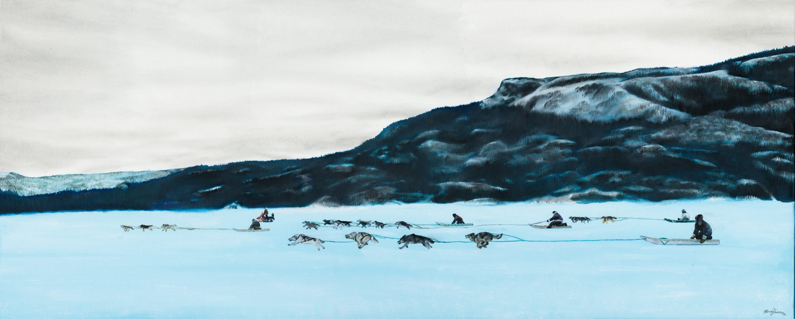 Heritage Dog Team Race painting by Bronson Jacque, showing teams of dog sleds running and a rocky crag in the distance