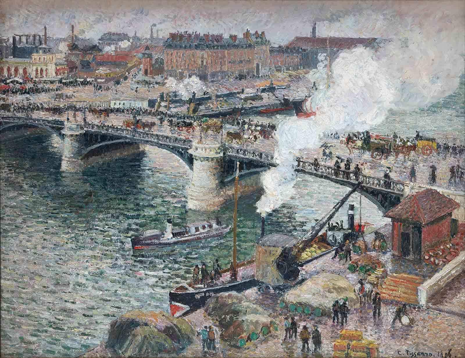 Camille Pissarro. Le pont Boieldieu à Rouen, temps mouillé