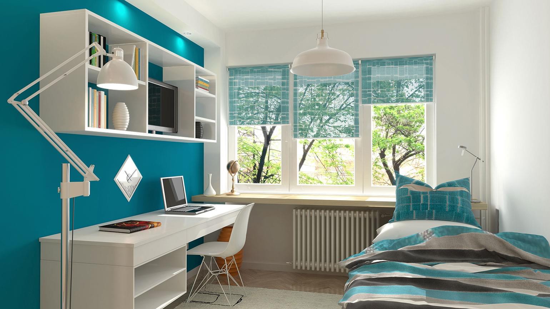 Intérieur d'une chambre d'adolescent moderne.